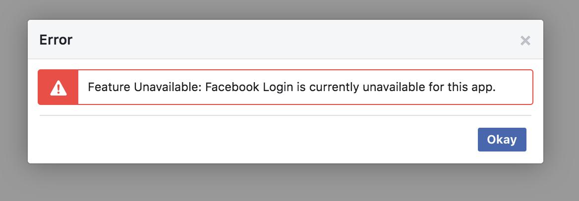 facebook app error